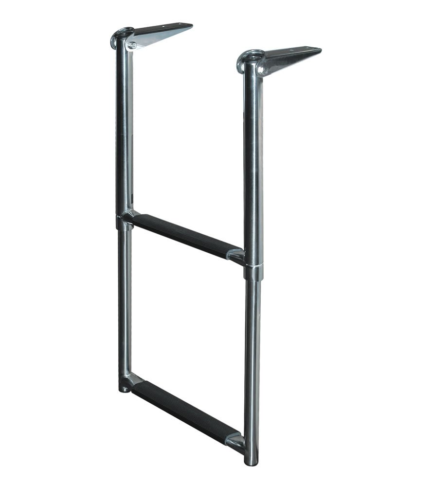 2 Step Stainless Steel Telescoping Transom Drop Ladder 2