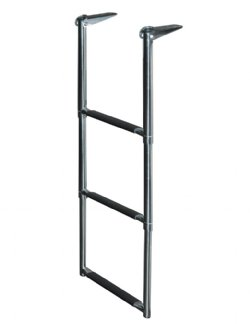 3 Step Stainless Steel Telescoping Transom Drop Ladder