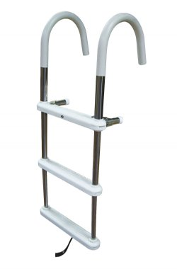 3 Step Stainless Steel Telescoping Gunwale Hook Ladders 3