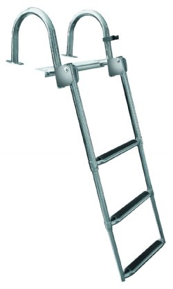 3 Step Rear Entry Stainless Steel Pontoon Ladders