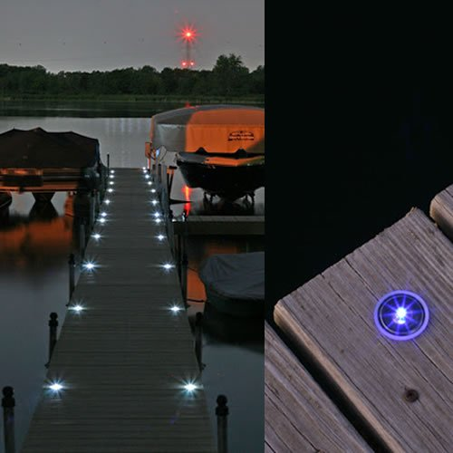 solar dock lights white light white solar deck lighting dockgear. Black Bedroom Furniture Sets. Home Design Ideas