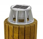Lake Lite Solar Piling Lights, 3 Color LED, SILVER Powder Coat