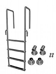 4 Step Stainless Dock Ladders with 3 in. Deep Handles